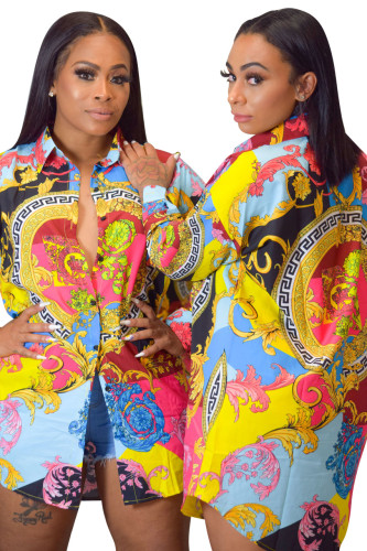 Euramerican Long Sleeves Printing Women Shirt Dress SMR9359