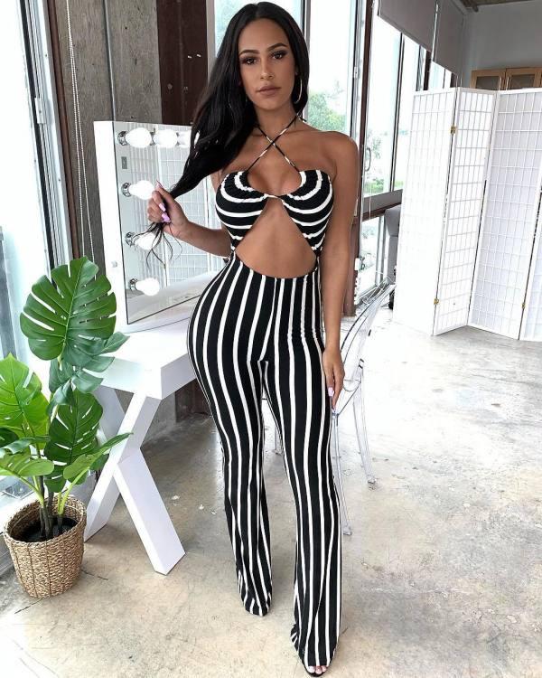 Temperament Women's Striped Printed Sleeve Striped Jumpsuit RO6183