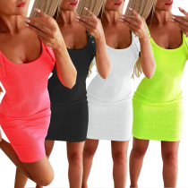 Sexy U-neck Slim Sleeveless Dress ZC3590