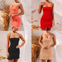 Summer sexy suspender fold bag hip skirt ruffled nightclub dress ZY1316