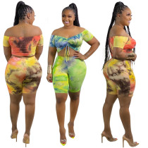 Tie-dye printing shorts two-piece suit casual sexy nightclub plus size women's clothing OSS20716
