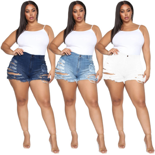 Slim and versatile stretch-through denim shorts HSF2279
