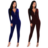 Open chest zipper curve sexy long sleeve webbing jumpsuit MZF8060