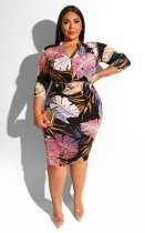 Full-body printed front zipper sexy slim fashion size women's clothing JLY1885