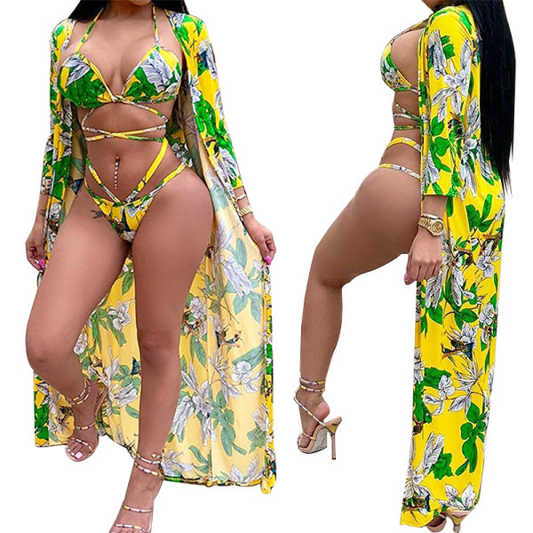 Summer new digital printed split swimsuit three-piece suit YF8519