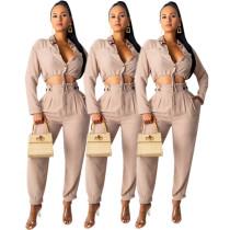 Office Ladies Hot Outfits Long Sleeves Top Elastic Waist Pants E8408