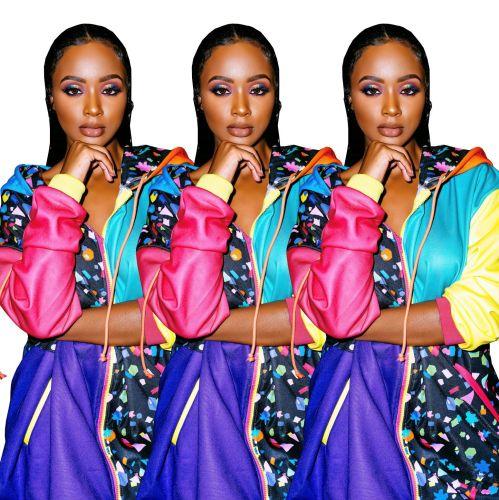 Fashion Color Block Hoodie Long Coats AA5044