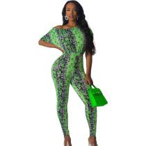 Casual Leopard Print Oblique Shoulder Tight Jumpsuit HY5069