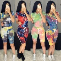 Fashion casual tie-dye printed hooded sports two-piece suit YZ1188
