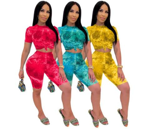 Fashion casual tie-dye printed shorts suit two piece set TY1825