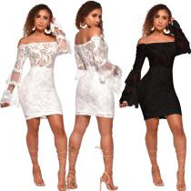 Sexy Lace Black/White Dew Shoulder Club Dress JLX3075
