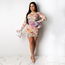 Nightclub ladies butterfly printed mesh see-through dress ED8183
