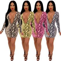 Snake Print Deep V Collar Wrap Dress With Zipper A8337