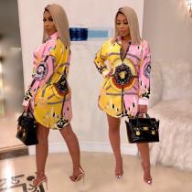 Fashion hot printing shirt multicolor dress SMR9276