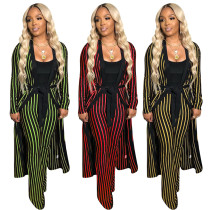 Striped Outfits Wide Leg Pants Bandage Long Coat QQM3815
