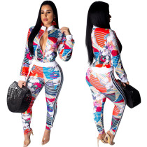 Leisure Bodycon Floral Print Two-Piece Suits OEP5312
