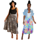 Fashion Printing Women Pleated Skirts For Daily Wear QQM3826