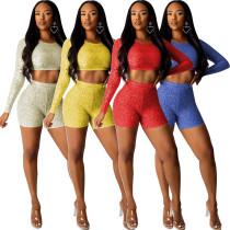 Slim Bodycon Fashion Pure Color Women Shorts Suits R6220