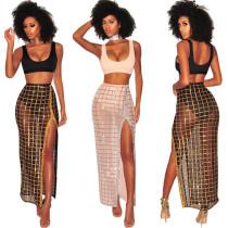 Sexy tank top, see-through split skirt, two-piece nightclub dress VN8515
