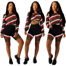Newest Women Long Sleeves Top Bodycon Printing Shorts SY8373