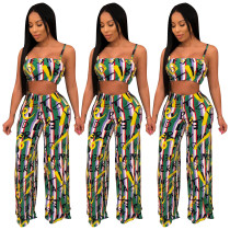 Letters Printing Sets Strappy Crop Top Zipper Wide Leg Pants SDD9152