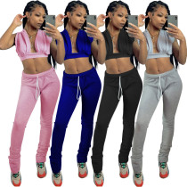 Sports casual solid color home suit sexy V-neck two-piece suit female MY9626
