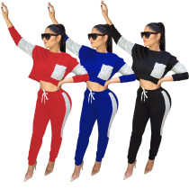 Running Outfits Color Block Top Elastic Waist Slinky Pants W8216