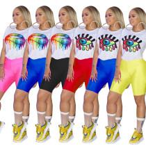 Wholesale Price Printing Bodycon Short Suits For Ladies QQM3693