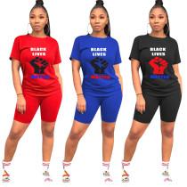 Women's fashion casual letter printing two-piece set KK8203