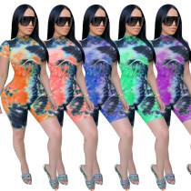Fashion tie-dye pitted print slim fit CM750