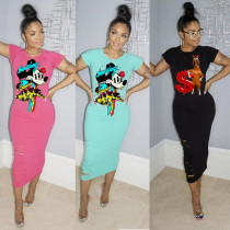 Personalized anime print pullover dress HM6191