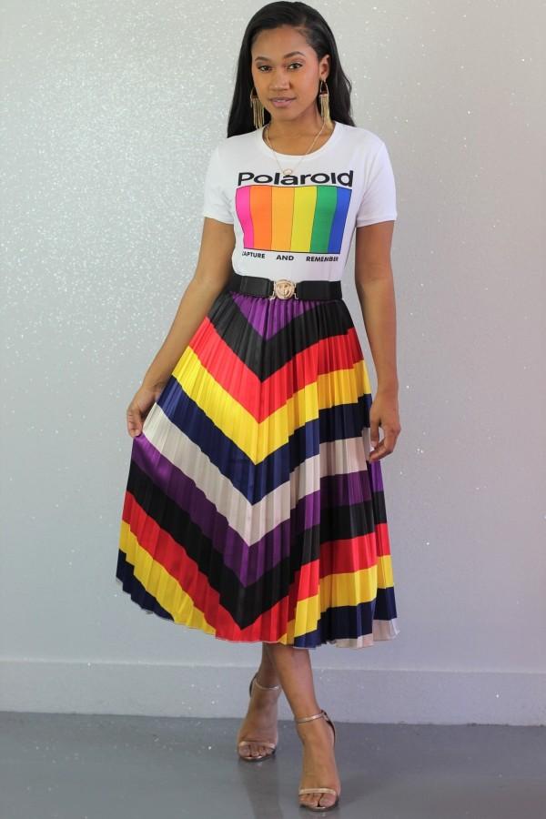 New Arrival Iridescent Pleated Women Midi Skirts BS1049