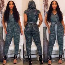 Camouflage Hooded Elastic Waistband Short Sleeves Jumpsuit HG5159
