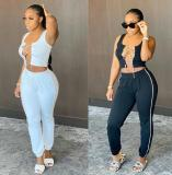 Sexy Mini Tshirt Tops With Long Pants  2 pcs Women Sets FF1024
