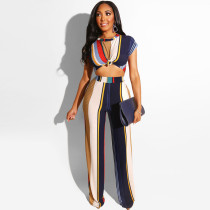 Tight-fitting T-shirt straight pants suit navel sexy two-piece set OSS19327