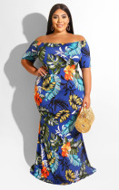 Full-body printed summer new sexy shoulder size dress JLY1884