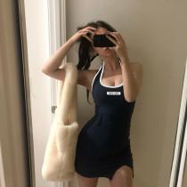 Fashion halter contrast color embroidered slim vest dress women HD6579W06