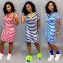 Wholesale Price Casual Short Sleeve Slim Bodycon Stripe Dress FA7040