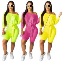 Cheap Women Plain Color Mid Waist Short Jumpsuit QQM3838
