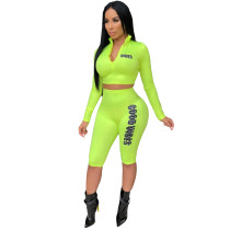 Letters Print Bodycon Track Suits Zipper Long Sleeves Top Midi Shorts CY1088