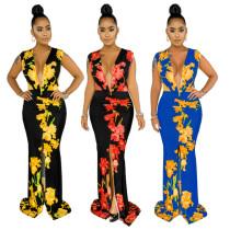 Sexy fashion sleeveless V-neck print stitching dress SMR9622