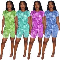 Women's denim printed fashion casual suit KK8207