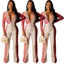 Casual Deep V Collar Gradient Color Long Sleeves Jumpsuit AMM8169