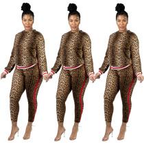 Stripe Patchwork Leopard Print Fashion Slim 2 Pieces Sets JH135