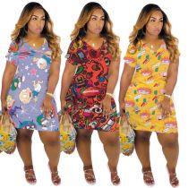 Cute cartoon print dress M6310