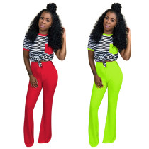 Women Outdoor Outfits Stripe T-Shirt Solid Long Pants QQM3822