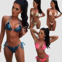 Sequined sexy metal ring multicolor split swimsuit QS-1822