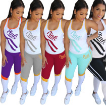 Sexy Women's Sports Casual Letters 2 Piece Set MTY6276