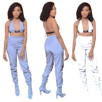 Hot Sale Reflective Sets Bandage Bra Top Skinny Pants T3367H