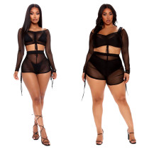 Sexy Mesh Perspective V-Neck Long Sleves Lace Up Two Piece Sets SMR9632